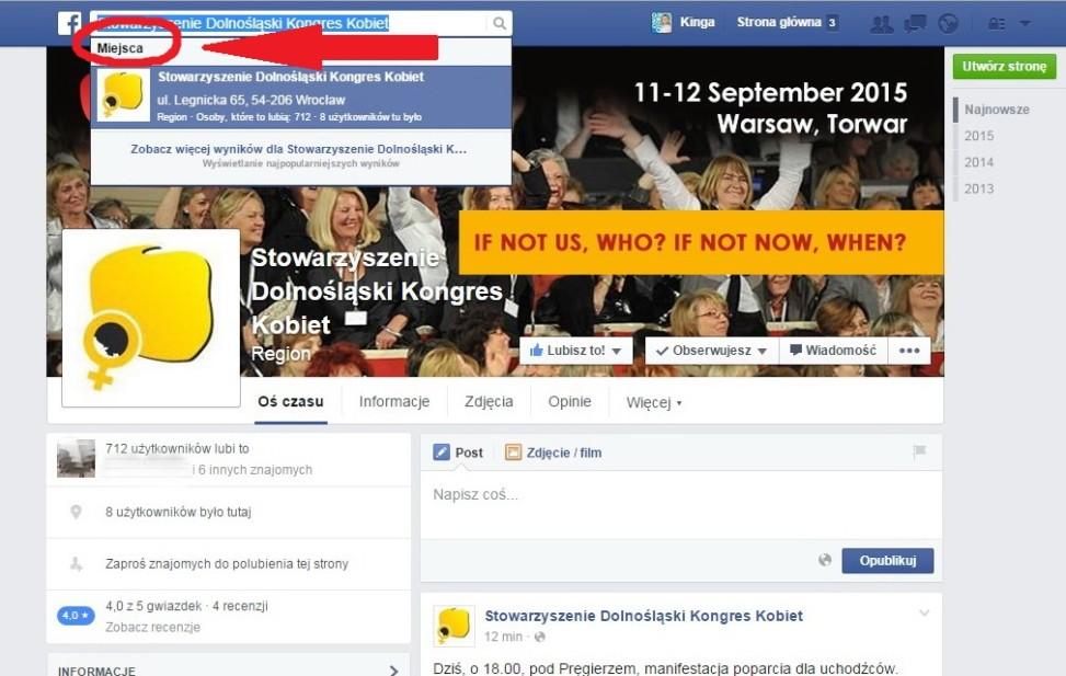 Facebook: STRONY zmieniają kategorię na MIEJSCA