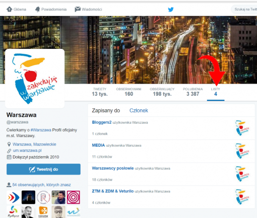 Warszawa Twitter listy