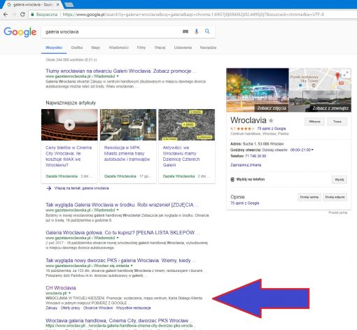 wroclavia galeria w google